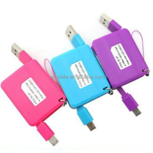 New Design Unique Small Colored Micro USB Cable keychain, Double Micro USB Data Cable for iPhone 5S,6