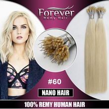 Xuchang Forever supplier 60# gold color 12 to 36 inch remy brazilian keratin micro nano hair extensions reviews