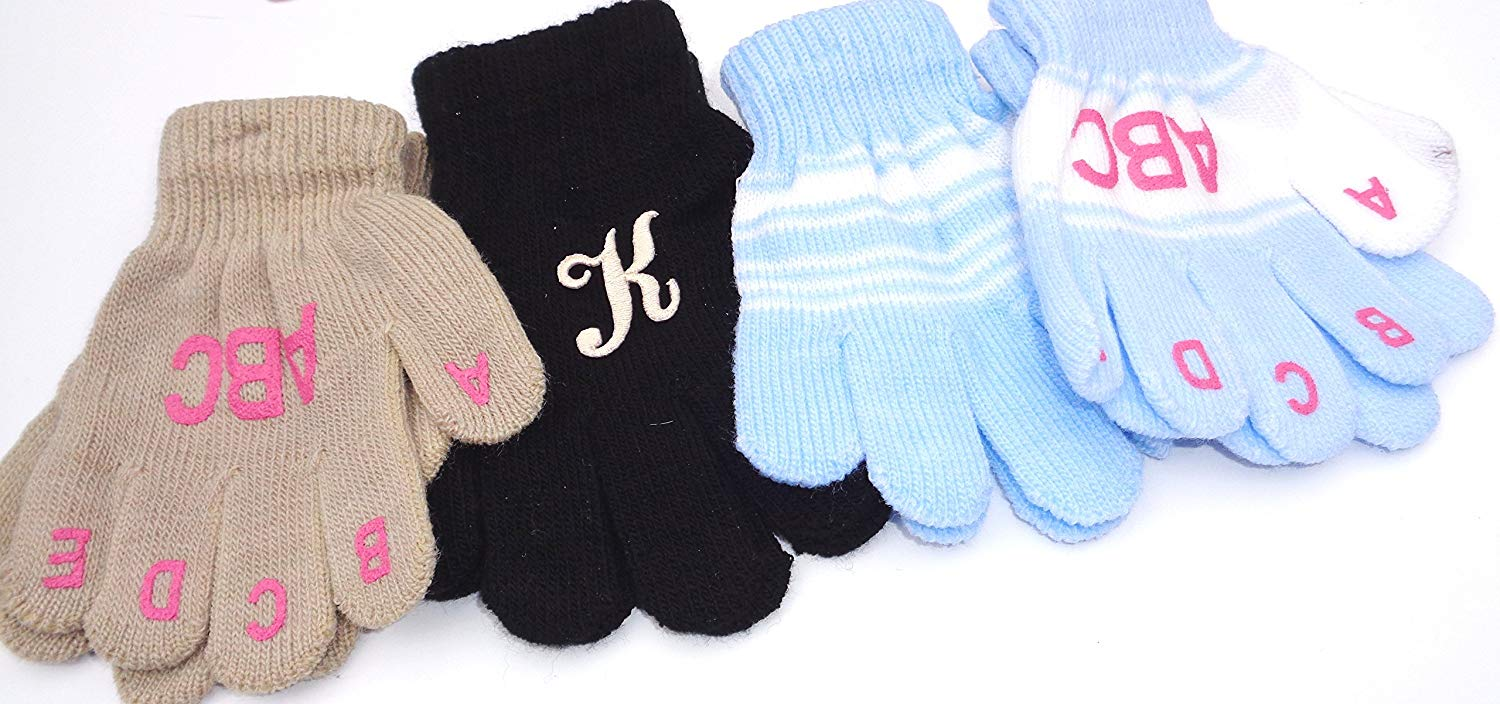 Set of Two Pairs Magic Gloves One with Monogram for Infants 1-4 Years