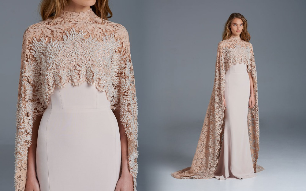 c1c0ef91e32 PAOLO02 Top Fashion Paolo Sebastian High Collar Cloak Lace Champagne  Handmade Exquisite Beaded Evening Dresses