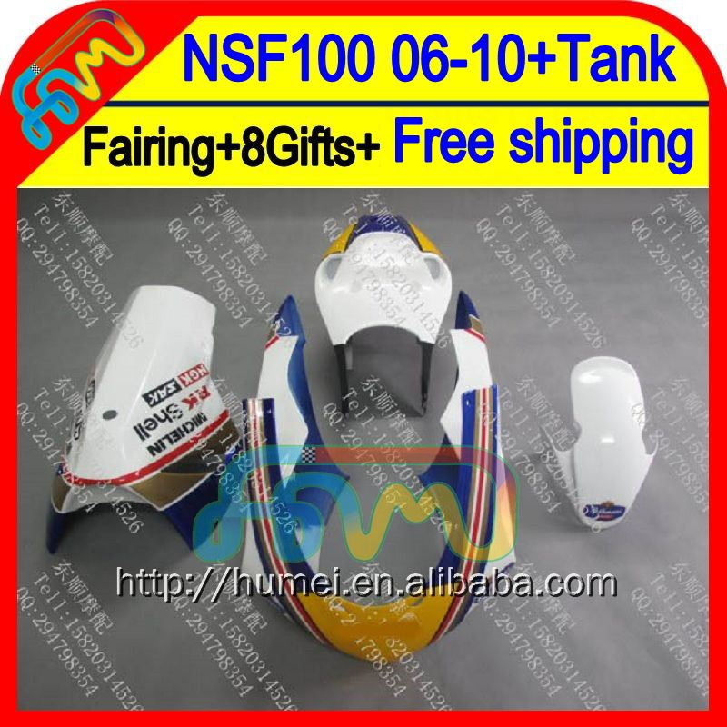 8Gift For HONDA Rothmans Blue NSF100 06-10 NSF 100 63HM5 NSF-100 06 07 Blue new 08 09 10 2006 2007 2008 2009 2010 Race Fairing