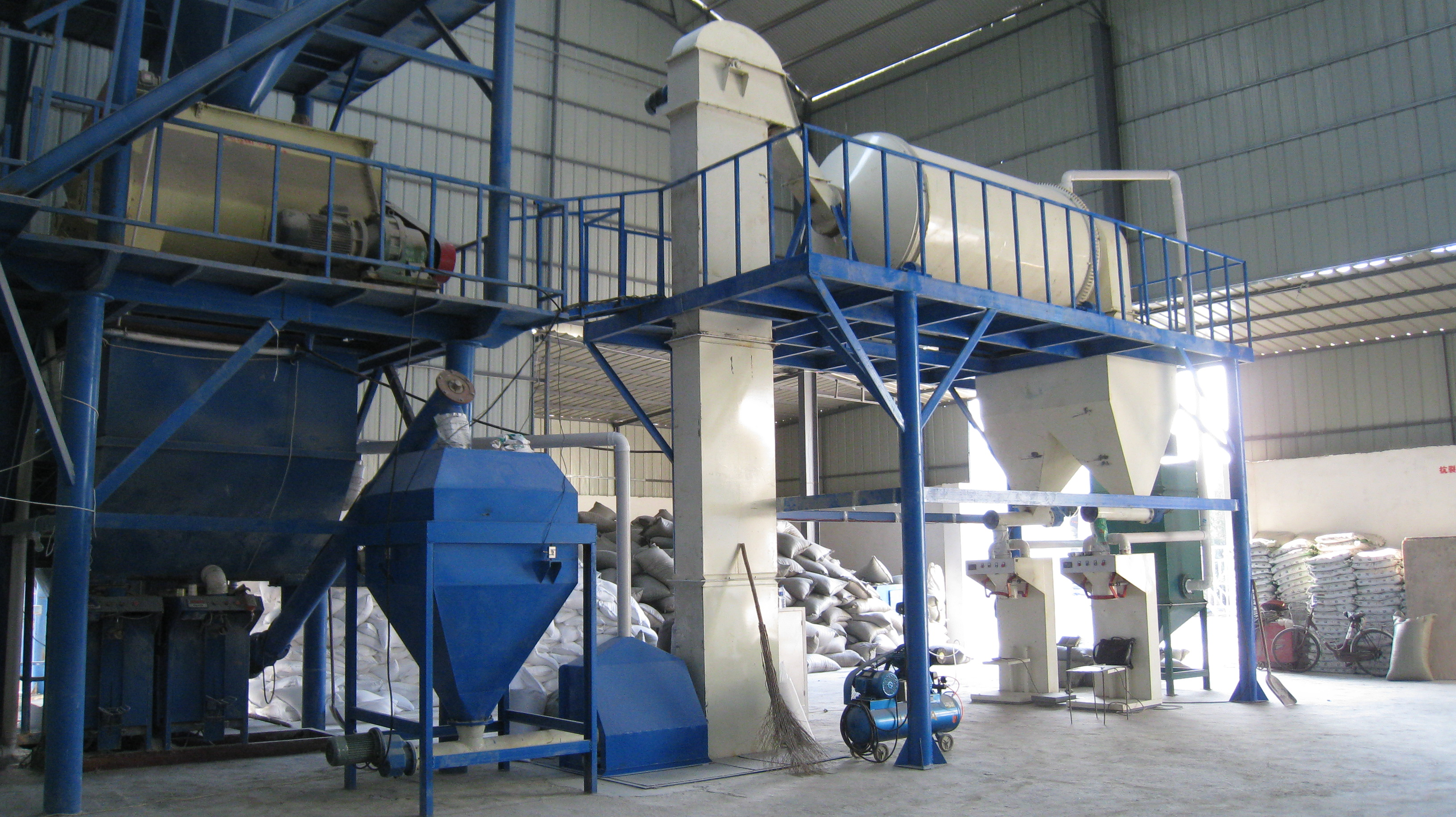 Semi automatic glass beads thermal insulation mortar mixing production line,dry mix insulation mortar plant