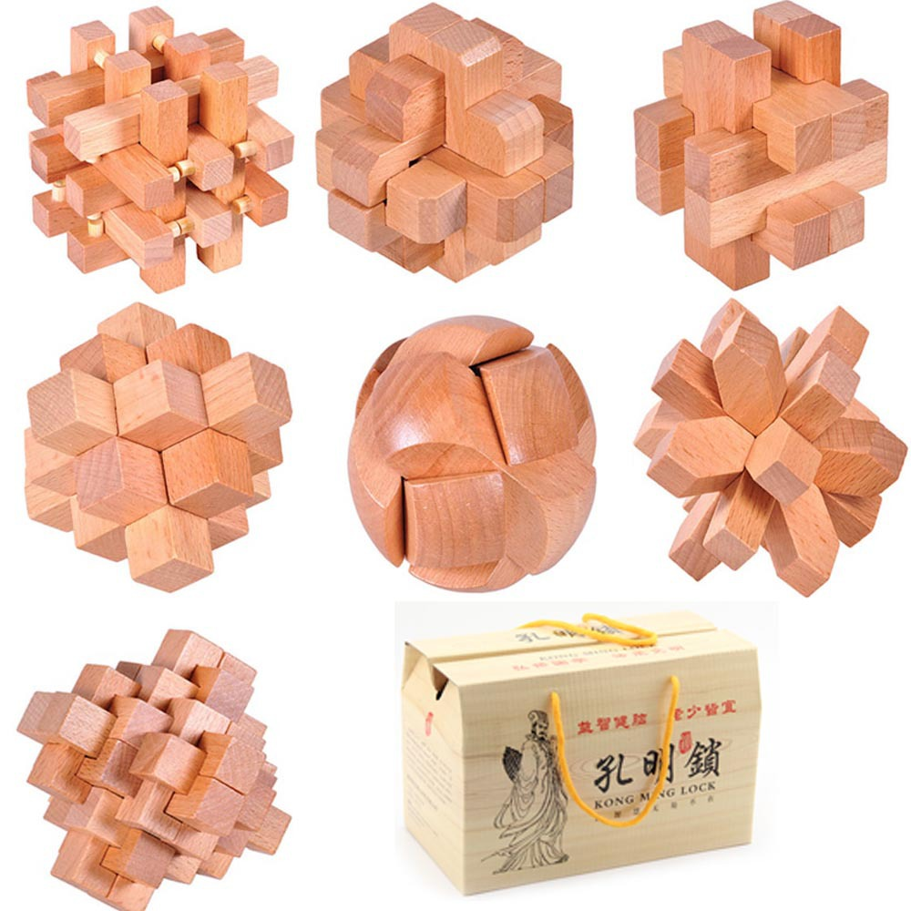 7pcs lot 3D Eco friendly import Gamany Beech wood kids educational wooden toys IQ brain teaser