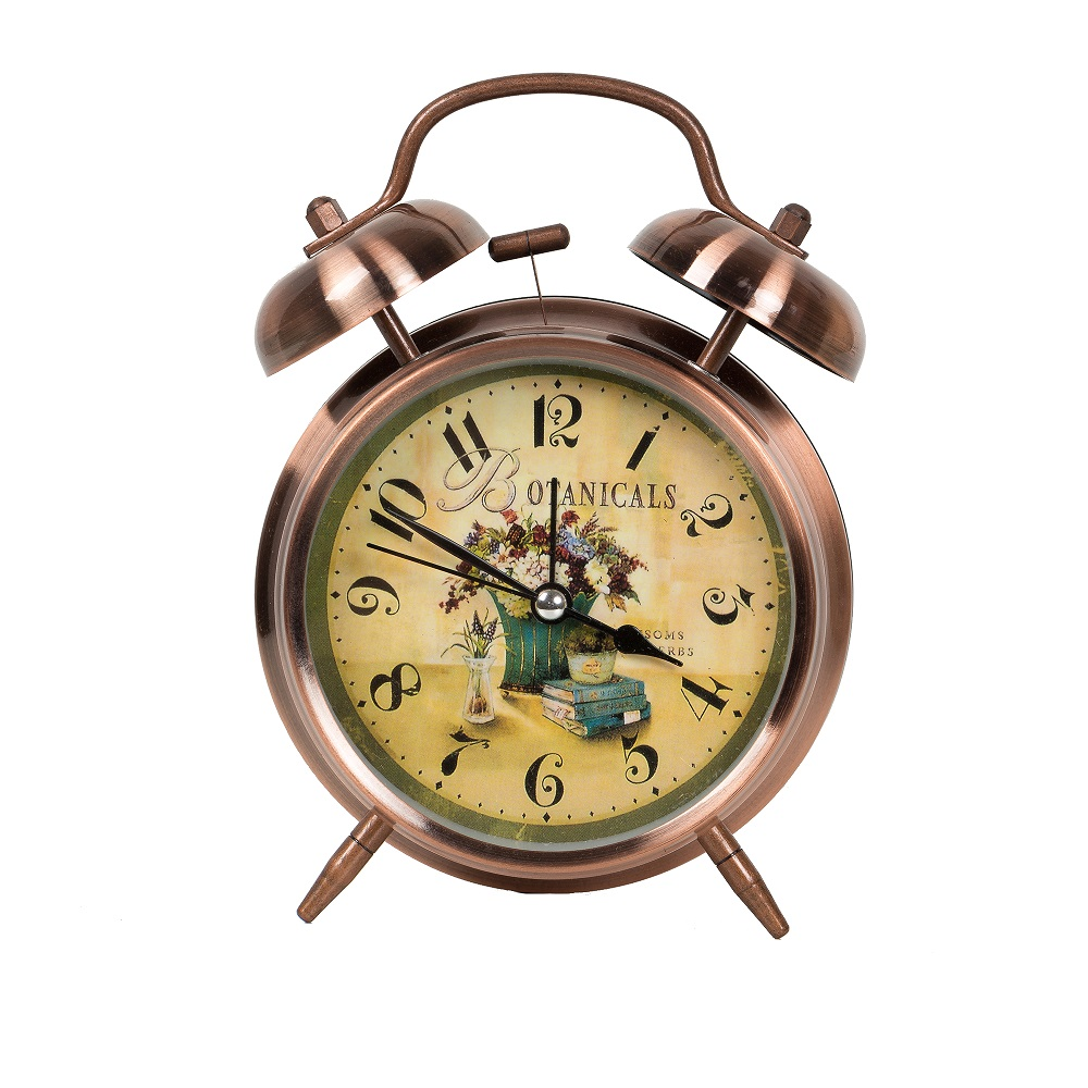 Pretty vintage old style twins bell table clock for home decoration