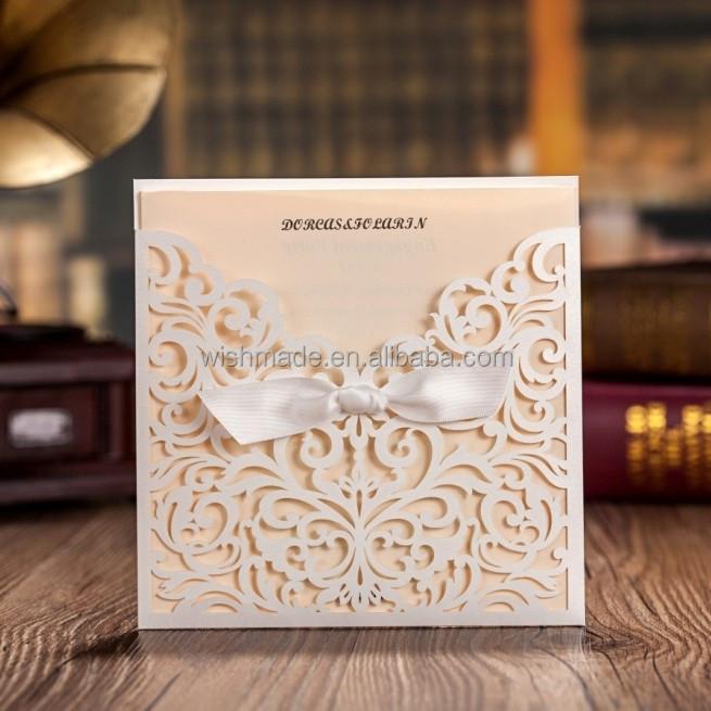 customized blank insert card laser cut wedding invitation card