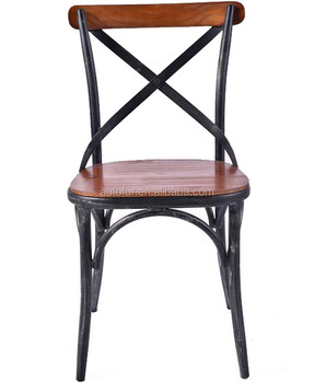 X Back Side Chair Metal Cross Dining French Wood