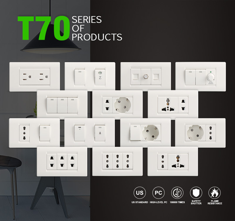 Wholesales American Home Style PC Plates 3 Gang 2 Way Wall Light Switch With LED Indicator