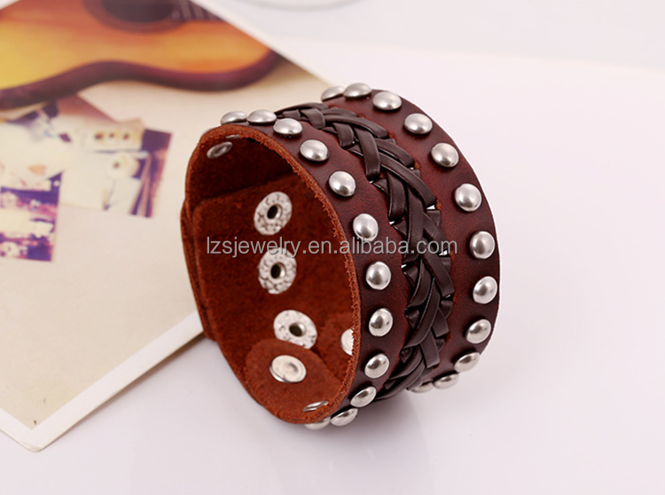 Punk style braided genuine leather with rivet decorated wide unisex bracelet