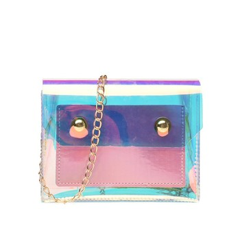 China Suppliers 2019 Cheap Little Girl Holographic Purses Dazzling Laser Transparent PVC Single Shoulder Bag