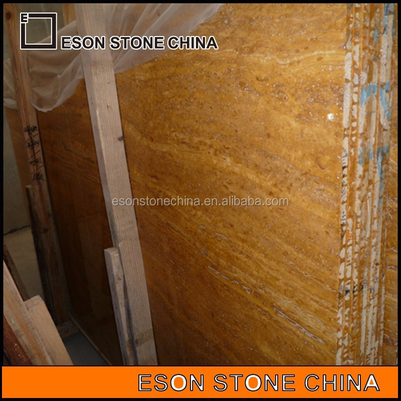 Eson Stone ES-08 Iran golden travertine marble m2 price for wall and floor tile