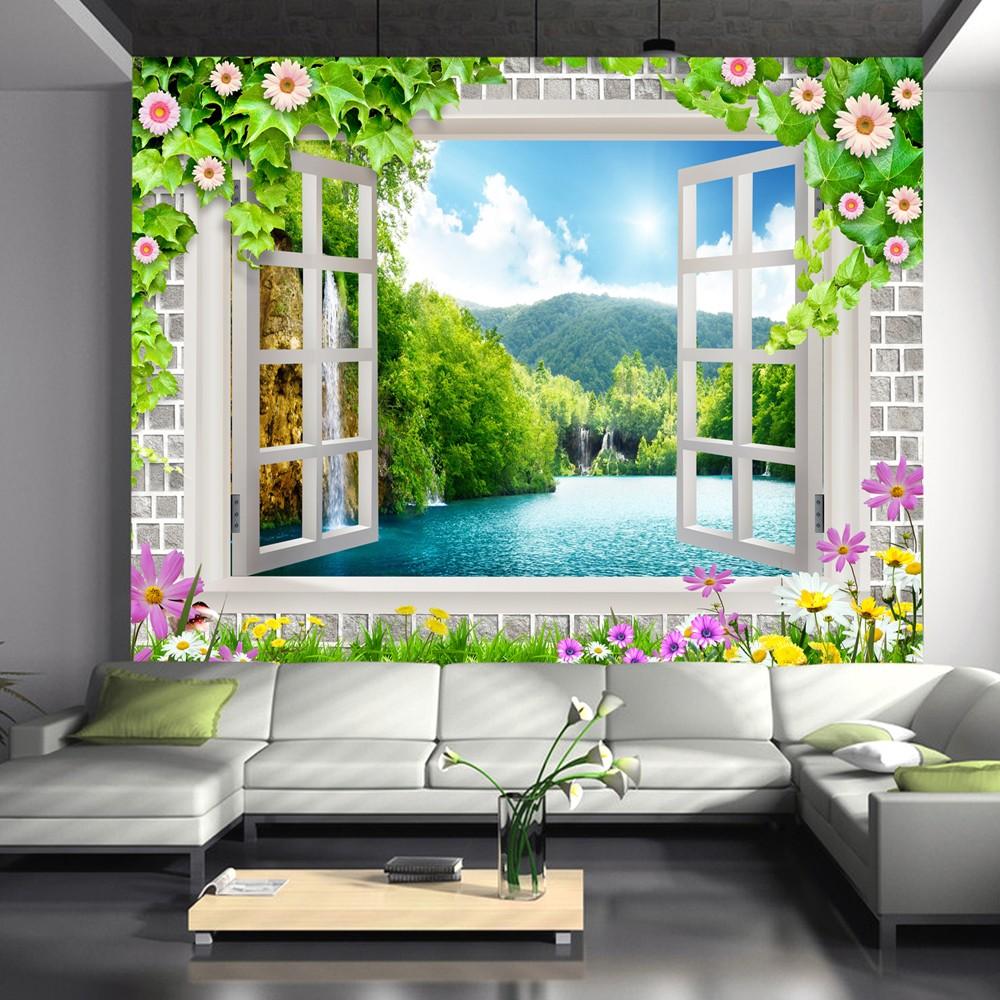 Full Hd Modern Dinding Pemandangan Lake 3d Jendela Lanskap Cetak Seni Untuk Dinding Buy Removable Wallpaper Mural Stiker Vinil Stiker Dekorasi