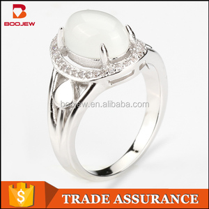 White ellipse dubai fashion zircon stone jewelry simple design gold wedding ring