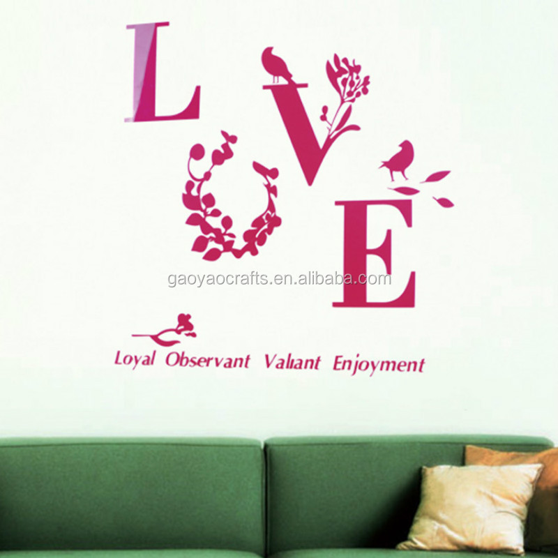DIY Sticker Sweet LOVE Pattern 3D Acrylic Wall Stickers Romantic Valentine Wedding Home Decorations LOVE Quotes decal