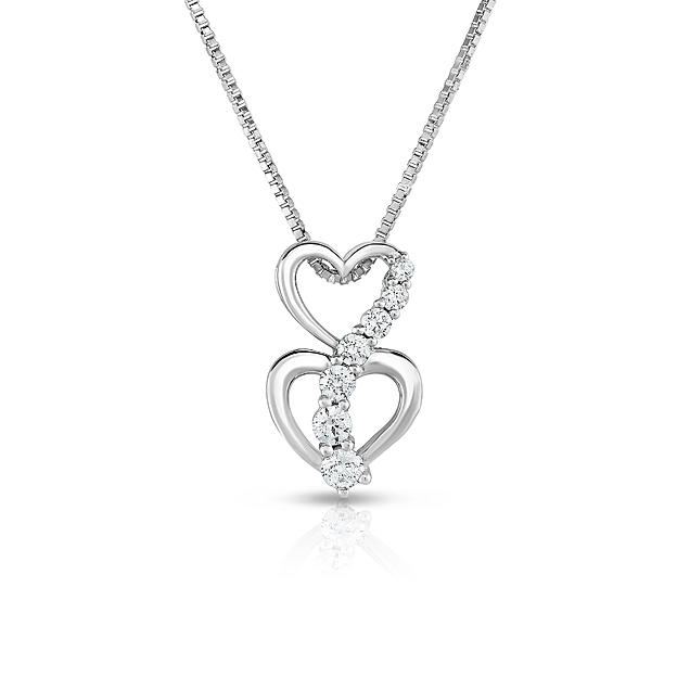 Double Heart beaded Stone pure silver necklace
