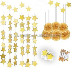 Gold Theme Glitter Star Garland and Gold Tissue Paper Pom Poms Party Decoration Festival Party Backfrop 8 pcs/set
