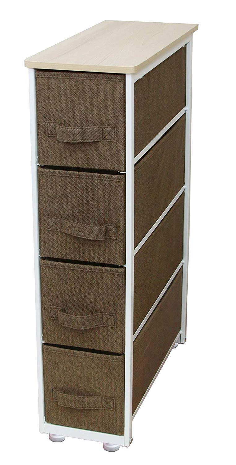 iTIDY Drawer Chest-4 Drawer Narrow Storage Chest,Dresser,Drawer Organizer Unit,Multi-Purpose Storage Cabinet With Removable Fabric Drawers,Brown