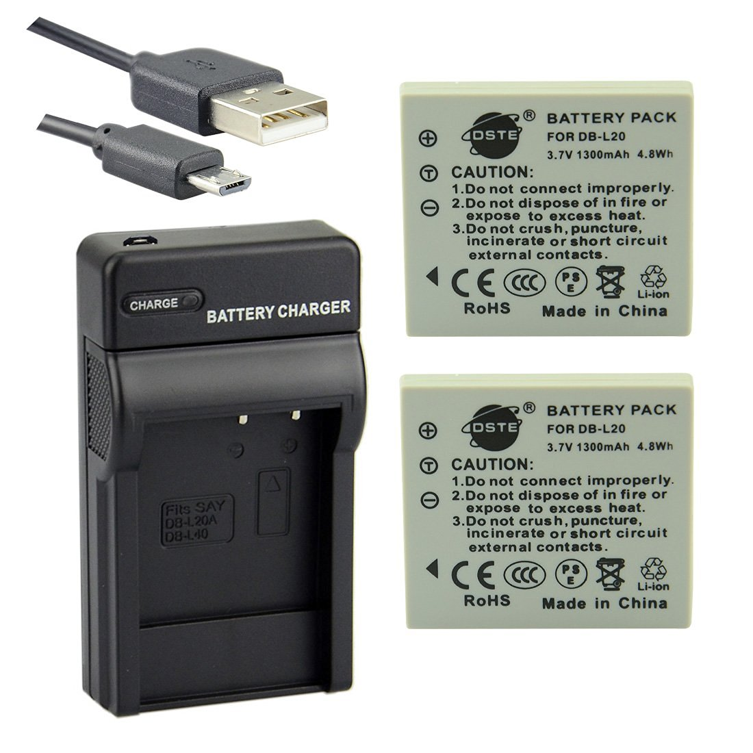 Get Quotations · DSTE DB-L20 Li-ion Battery (2-Pack) and Micro USB