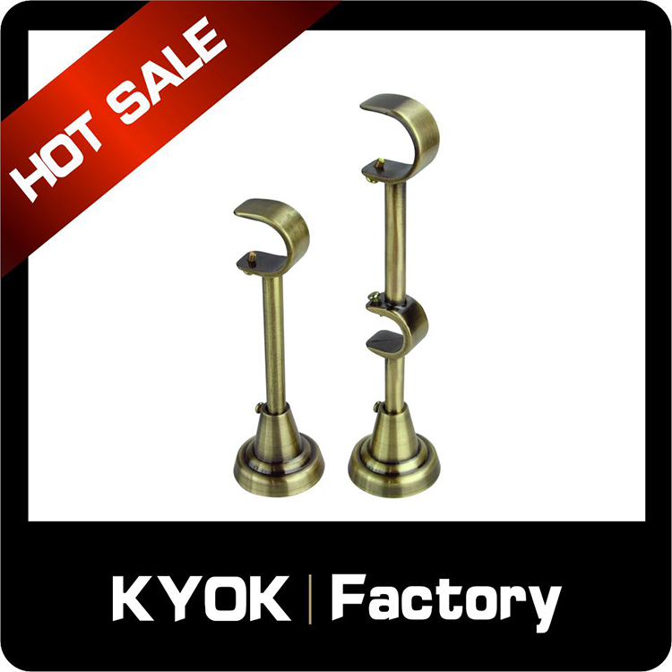 KYOK New model 22mm/28mm heavy duty zinc alloy double curtain rod bracket,double curtain rod wholesale