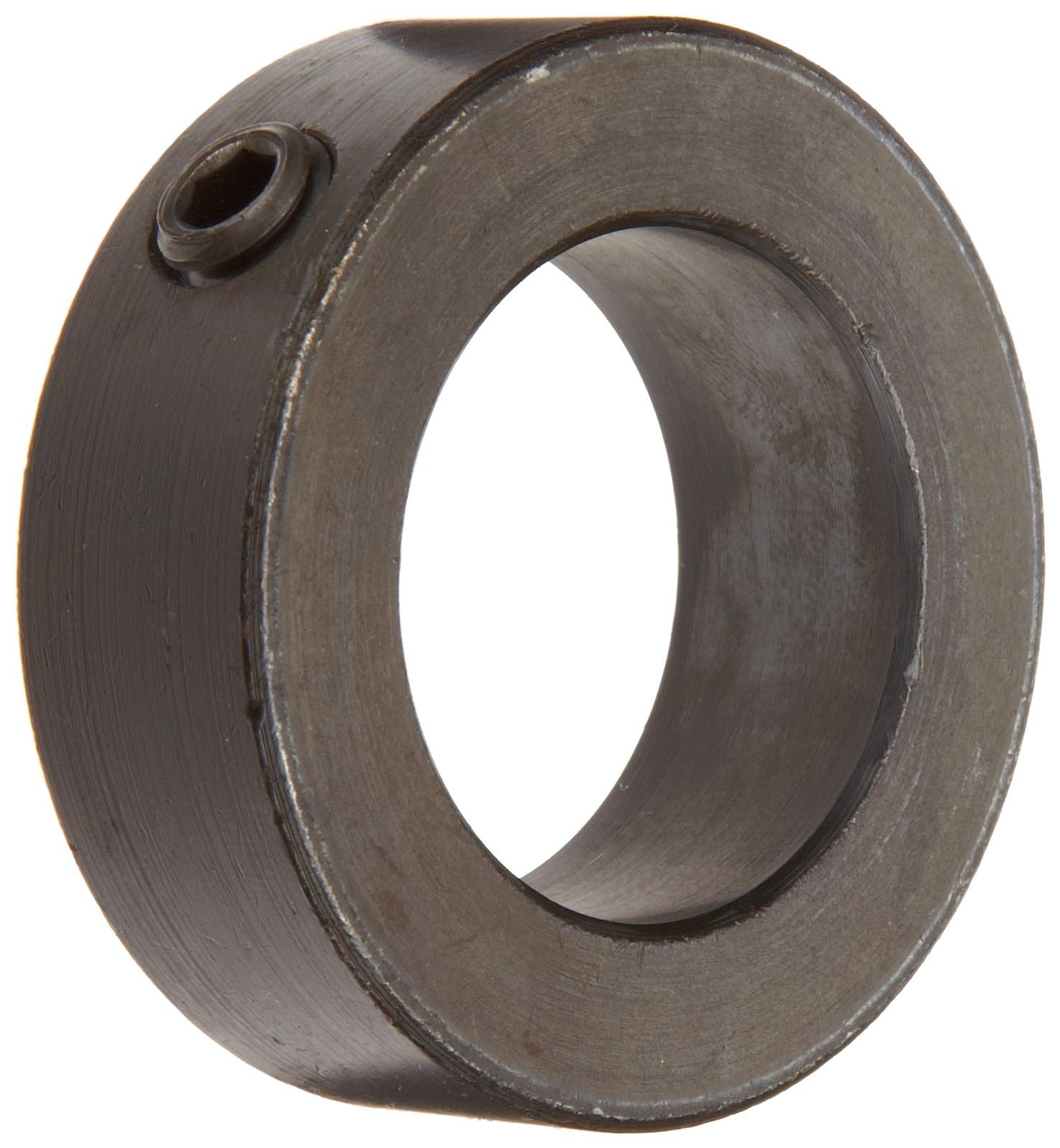 """Climax Metal C-100-BO Shaft Collar, One Piece, Set Screw Style, Black Oxide Plating, Steel, 1"""" Bore, 1-1/2"""" OD, 5/8"""" Width, With 5/16-24 x 1/4 Set Screw"""
