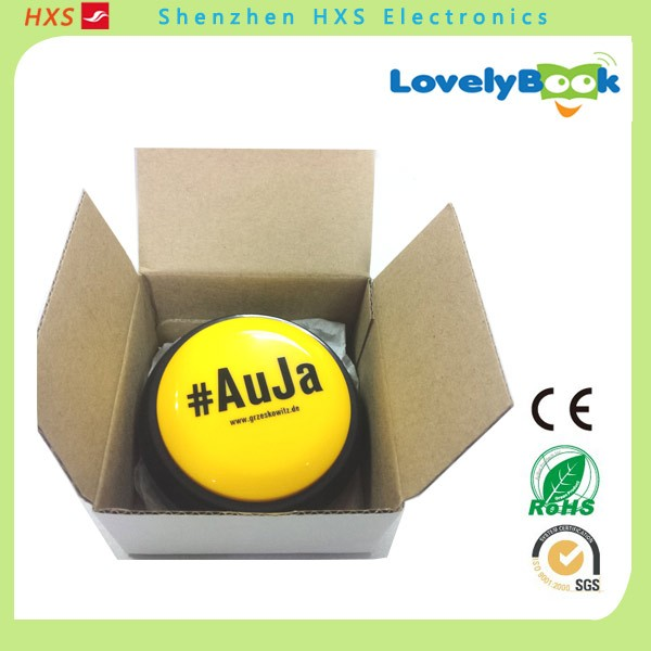 Plastic Custom AUJA Led Flashing Sound Button Squeeze Toy