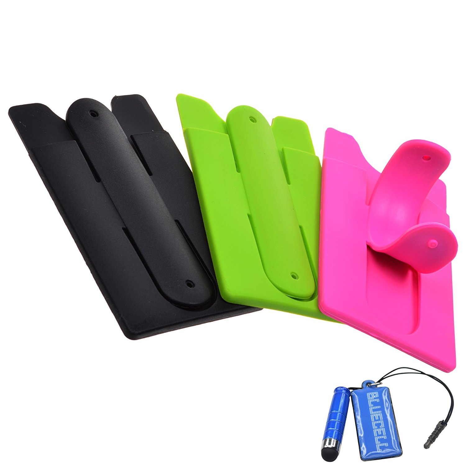 BCP 3pcs Black & Pink & Green Color Silicone Self Adhesive Mobile Phone Stand Holder with Card Case