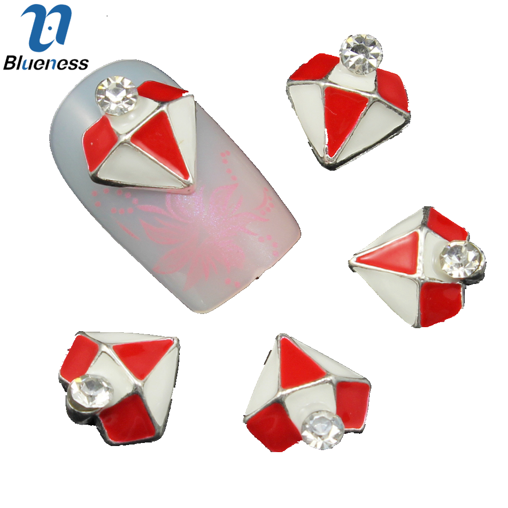 10pc Colorful Diamond Shape Rhinestones 3d Nail Art Decorations Alloy Nail Sticker Charms Jewelry for Nail