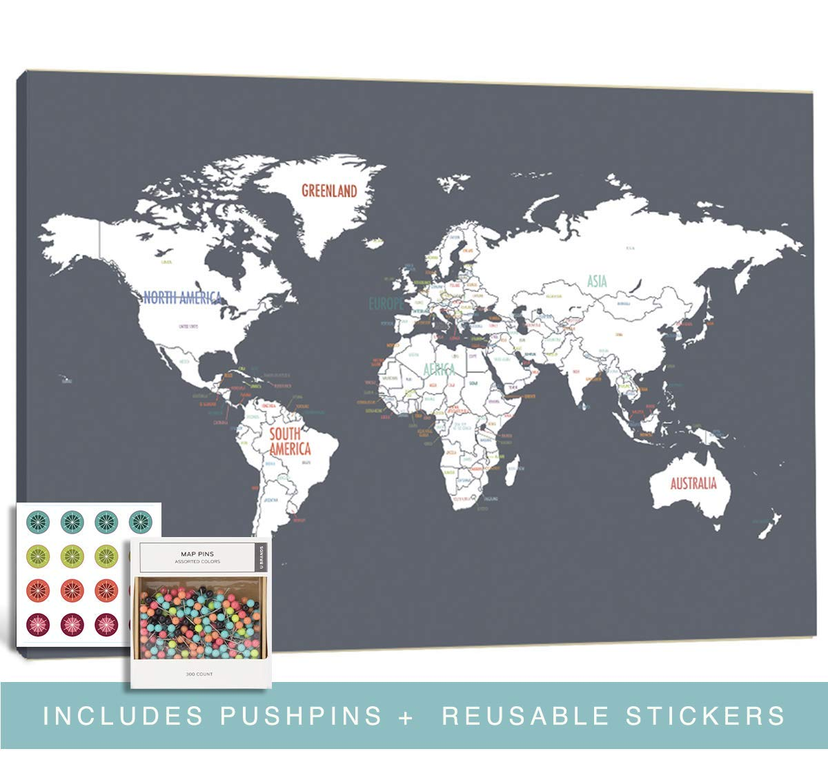 Kindred Sol Collective Push Pin World Travel Maps- Personalized World Map Includes Stickers and Pins- Canvas Size 24 x 18