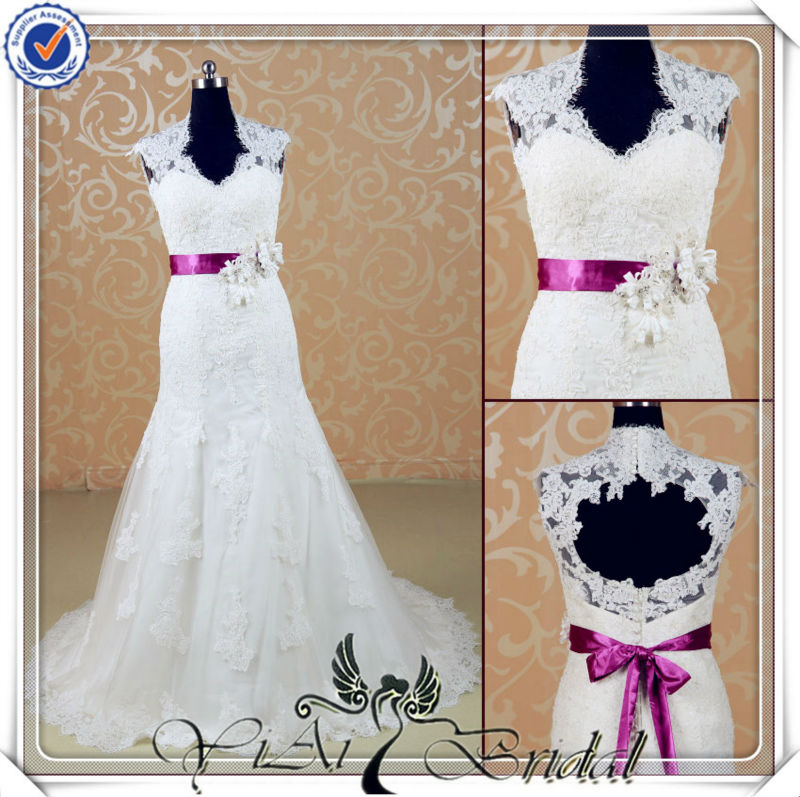 JJ3534 Lace crystal appliques for wedding dresses purple and white wedding dresses 2014