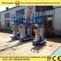 Double mast aluminum vertical lifting platform/double mast aluminum aerial man lift rental