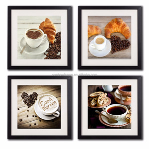 Coffee Framed Wall Art Decor Posters And Prints Modern Still Life Kitchen Artwork Painting Printed 4 Piece Black Frame White Mat