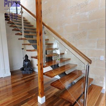Building Stair Handrail Glass Railing Wood Stair