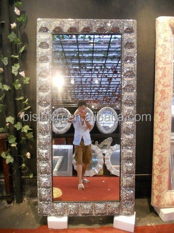 Crackle Oval Design Wall Mirror Silver Frame Mosaic Glass