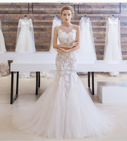 Wedding dress 2017 latest handmade fashion sexy ladies gown sweet lace elegant mermaid wedding dress bridal gown