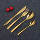 4 pcs /set 430 Stainless steel thailand gold cutlery for restaurant wedding dinnerware sets