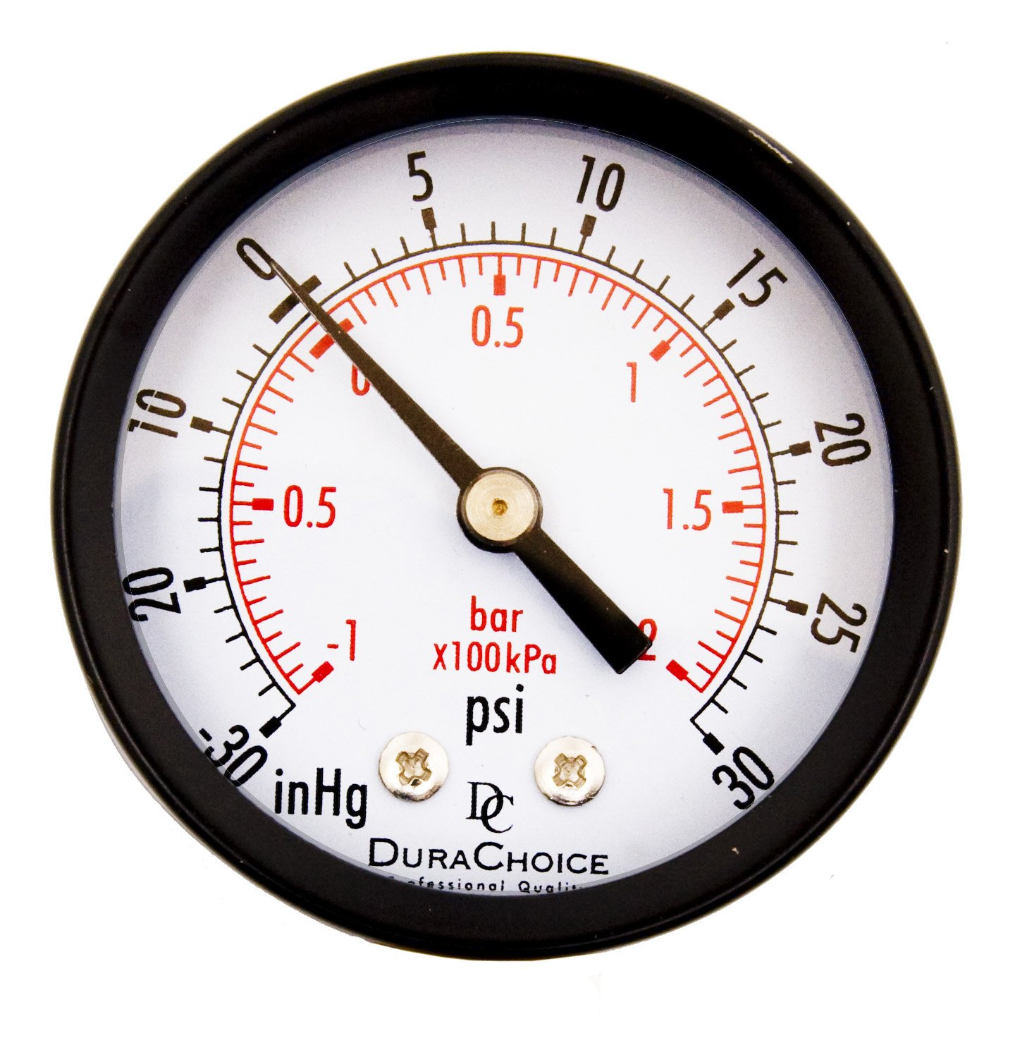 "DuraChoice 2"" Dial Utility Vacuum Pressure Gauge for Air Compressor Water Oil Gas, 1/4"" NPT Center Back Mount, Black Steel Case, -30HG/30PSI"