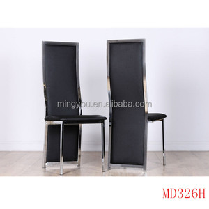 Black PU Leather Chrome legs used dining room furniture for sale