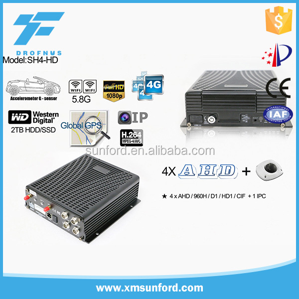 4CH AHD 720P Mobile DVR with 3G GPS and WiFi and fatigue driving sensor