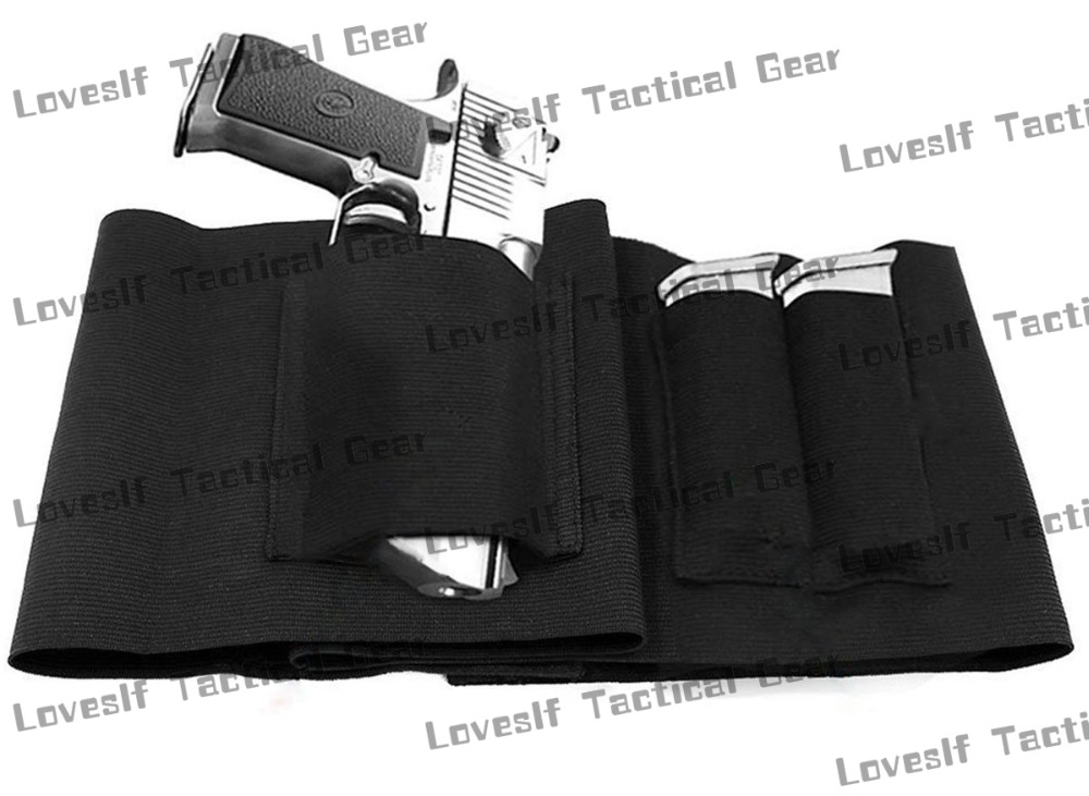 Elastic Belly Band Tactical Waist Pistol Gun Holster with Mags Factory Wholesale