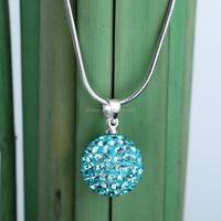 Pave crystal ball pendant necklace aquamarine rhodium plating statement necklace