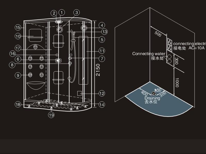 Hs sr008 prefab steam room shower steam bath cabinet for Steam room design plans