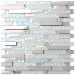 New Design Glass Metal Iridescent White Silver Mirror Stainless Steel Blends Wall TIle Mosaic