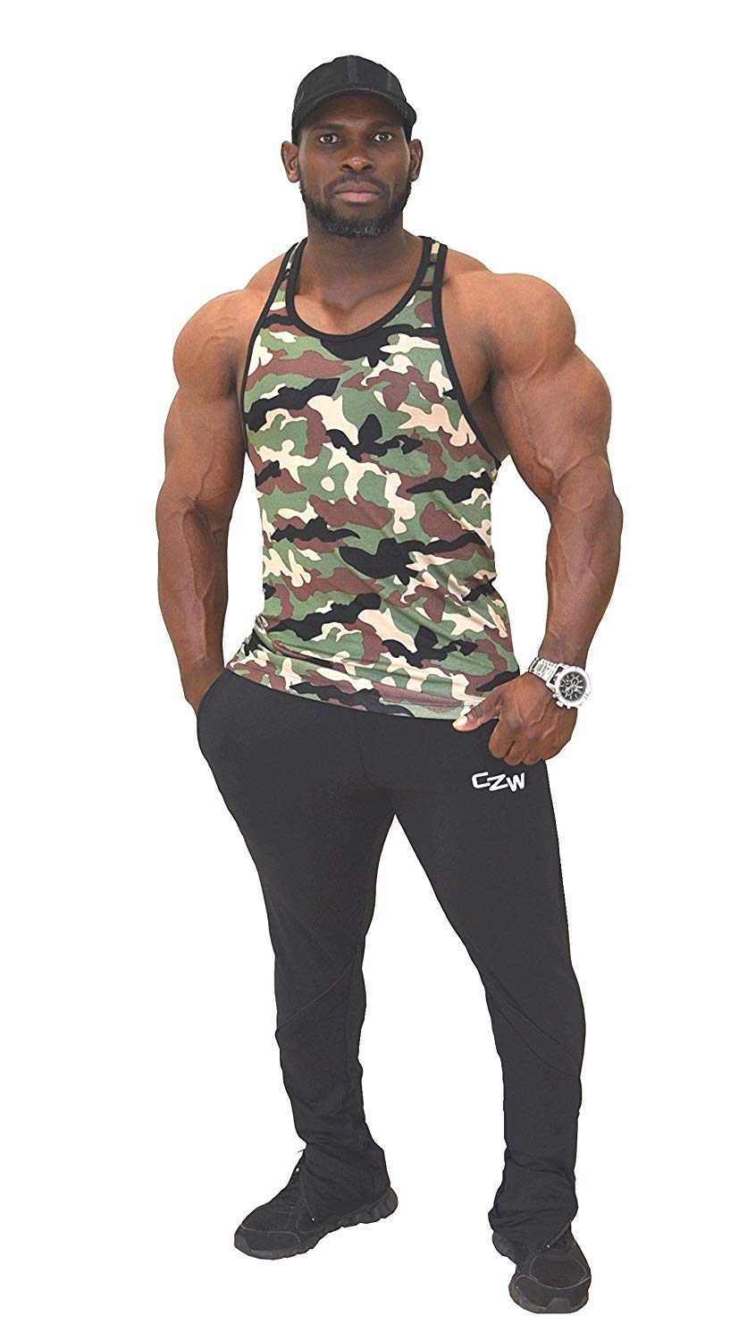 3e9a86153c080f Get Quotations · Fitted Camo Stringer Hardcore Bodybuilder Tank Top