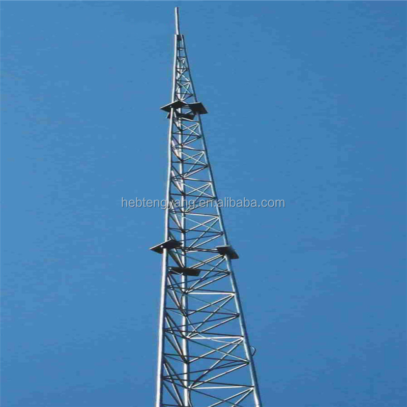 Galvanized Steel Latiice Microwave Telecom 3 legs Tubular Tower
