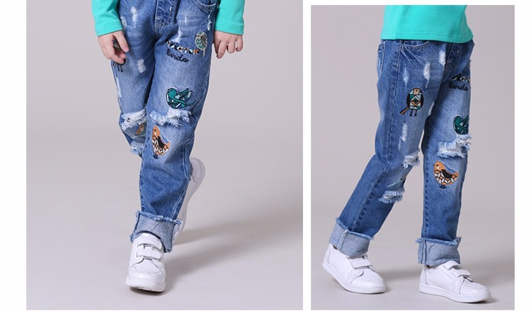 cb7c609014d Girl ripped jeans children spring new model jeans pants kids damaged demin  jeans