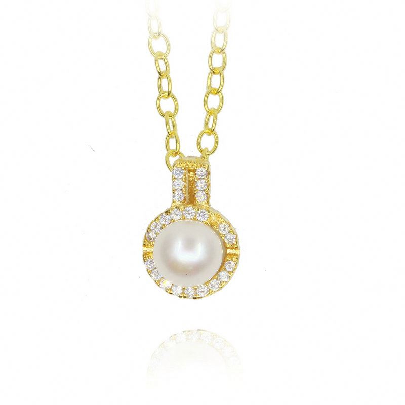 XINHUI 18k freash water pearl necklace 925 sterling Silver Factory Price wholesale