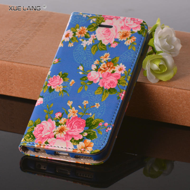 Shock Resistant For huawei ascend p7 PU Leather Mobile Phone Case With Flower Pattern
