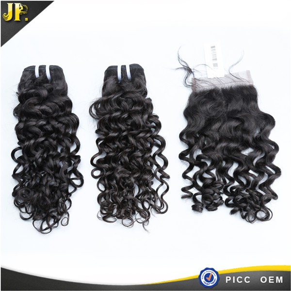 Indian Temple Hair,No Shed No Tangle,Jerry Curl 5x5 Lace Closure