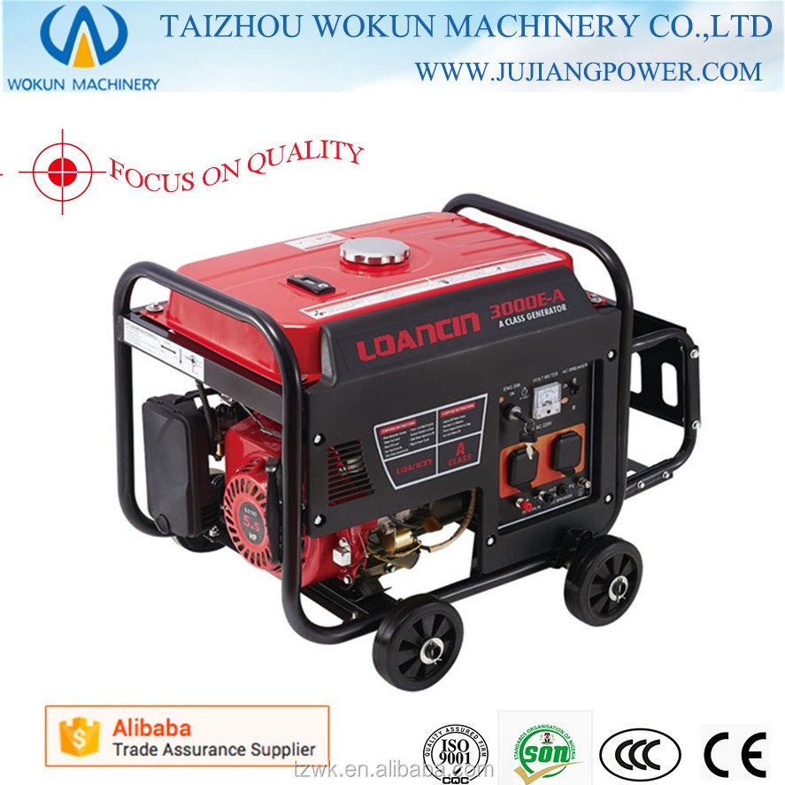 Popular!2.5KW LOANCIN Electric Start Generator Portable for Home Use Factory Gasoline Generator