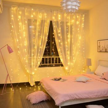 China Sample order Bedroom Holiday Decor 300LEDs Window Curtain Light Set 8 Modes String Fairy Light for Christmas