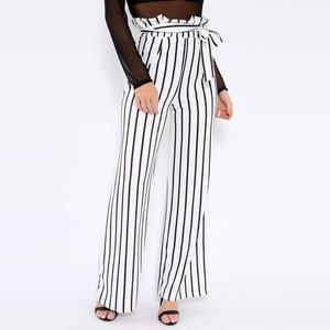 Women Waist Belted Stripe Pants Ladies Long Satin Trousers Factory